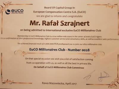 Certyfikat ze spółki akcyjnej potwierdzajacy zarobienie prowizji w wysokości jednego miliona złotych
