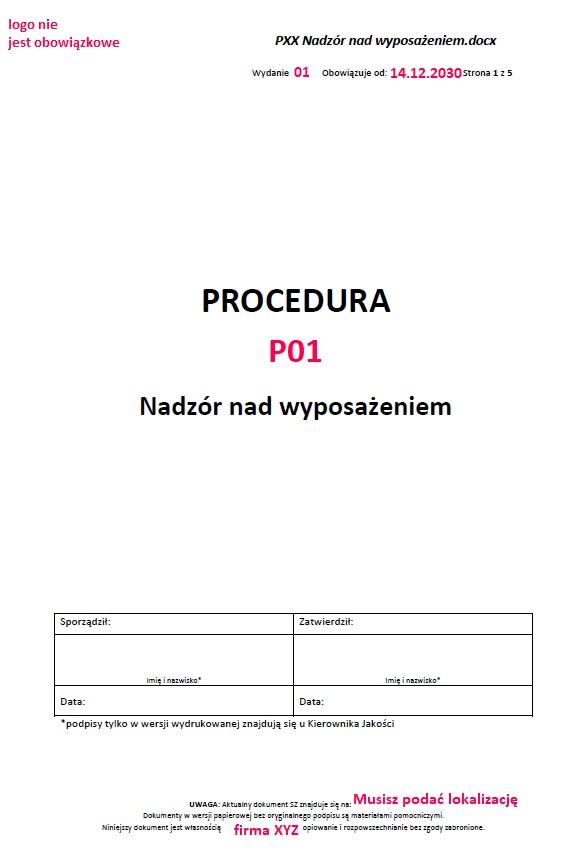 <strong>Jak napisać procedurę przykład</strong> (zawsze aktualny!) 2