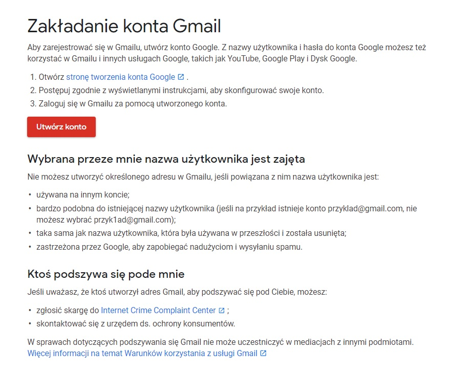 zakłądanie konta google gmail bez telefonu